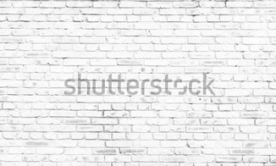 Fotomural Fondo de pared de ladrillo blanco en habitación rural,