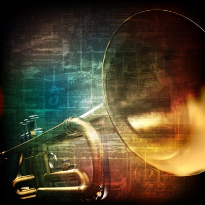 Fotomural Fondo del grunge abstracto con la trompeta