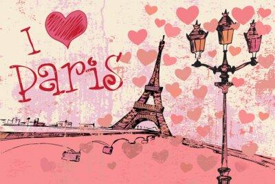 Fotomural Fondo del grunge de París con la torre Eiffel