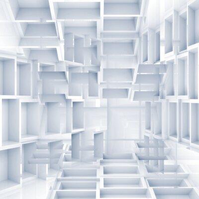 Fotomural Fondo digital 3d abstracto con cubos blancos caóticos