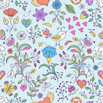 Fotomural Fondo floral con el pájaro y las flores