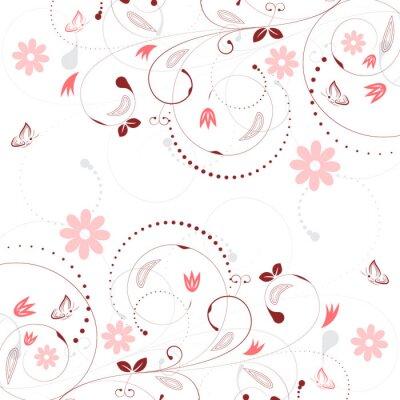 Fotomural Fondo floral del vector con el modelo de la flor de la vendimia y las mariposas.