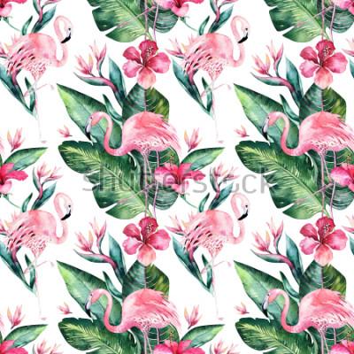 Fotomural Fondo floral inconsútil inconsútil del modelo del verano con las hojas de palma tropicales, pájaro rosado del flamenco, hibisco exótico. Perfecto para papeles pintados, diseño textil, estampado de tel