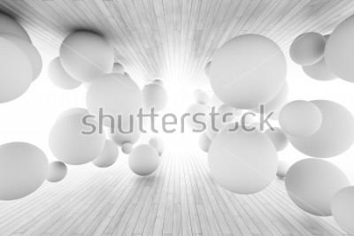 Fotomural Fondo geométrico abstracto con las bolas en el túnel de tableros. Ilustracion 3d