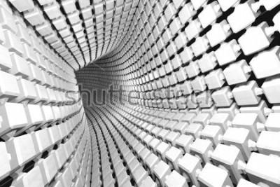 Fotomural Fondo geométrico abstracto con un túnel que va a la perspectiva. Render 3d