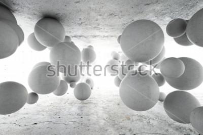 Fotomural Fondo geométrico abstracto de bolas concretas. Ilustracion 3d