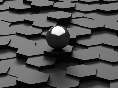 Fotomural Fondo negro de 3d hexágonos y esfera de acero