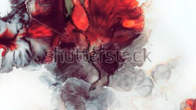 Fotomural Fondo rojo abstracto. Macro células. Flor roja Pinturas acrílicas. Textura de mármol. Arte contemporáneo.