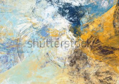 Fotomural Fondo suave azul y amarillo hermoso abstracto del color. Textura dinámica de la pintura. Patrón futurista moderno. Arte fractal para diseño gráfico creativo.