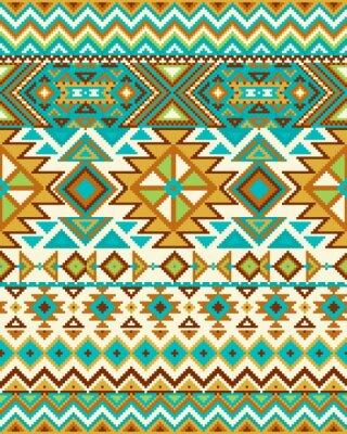 Fotomural Fondo transparente brillante con el patrón del pixel en estilo tribal geométrico azteca. Ilustración del vector. Pantone colores.