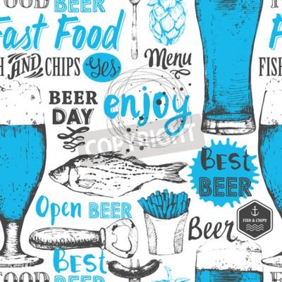 Fotomural Fondo transparente con conjunto de cerveza. Menú del pub. Botella y vaso de cerveza en estilo de boceto. Ilustración vectorial con etiquetas de cerveza.