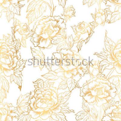 Fotomural Fondo transparente con flores de peonía. Ilustración vectorial imita la pintura tradicional china de tinta. Patrón floral dibujado mano gráfico. Diseño de tejidos textiles. Entintado de oro