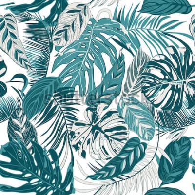Fotomural Fondo transparente con hojas tropicales