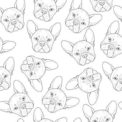 Fotomural Fondo transparente con lindo dibujo de bulldog. Perro realista hecho a mano. Colorear monocromo con bulldog. Impresión para impresión en textiles. Perros de raza. Fondo transparente con el perro para