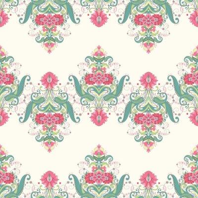 Fotomural Fondo transparente de vector. Hermoso patrón floral oriental se compone de bordes. Delicado verde y rosa.