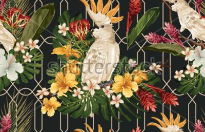 Fotomural Fondo tropical inconsútil del modelo con las flores y el pájaro tropicales de la cacatúa. Papel tapiz Tropicana, papel digital, ilustración de trama en estilo hawaiano vintage.