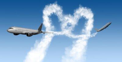 Fotomural Forma de corazón pistas de los aviones en azul