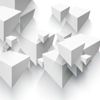 Fotomural Forma geométrica vectorial abstracto de cubos grises.