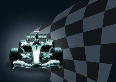 Fotomural fórmula 1 coche y la bandera