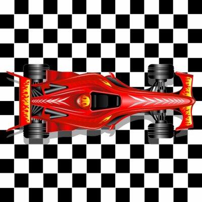 Fotomural Formula 1 Race Car en fondo rojo a cuadros