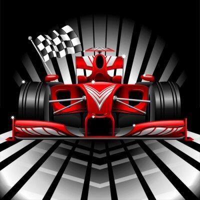 Fotomural Formula 1 Race Red Car y cuadros de la bandera