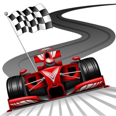 Fotomural Fórmula 1 Red Car en pista de carreras