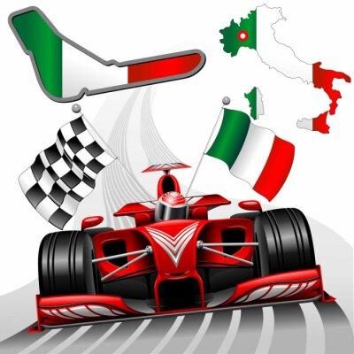 Fotomural Fórmula 1 Red Car Race GP Monza Italia
