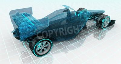 Fotomural Fórmula coche tecnología wireframe bosquejo parte superior vista trasera motorsport producto diseño de fondo de mi propio