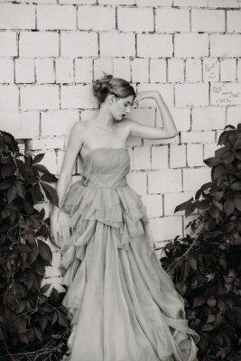 Fotomural Fotografía en blanco y negro de la moda de la hermosa niña en el vestido.