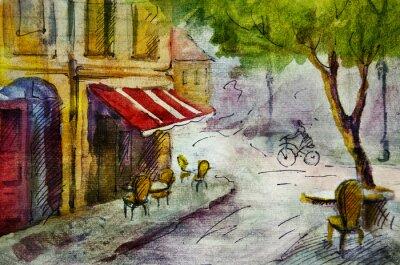Fotomural Francés al aire libre pintura café europeo, dibujo gráfico de color