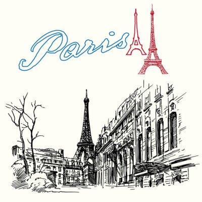 Fotomural Francia, París - Torre Eiffel - dibujado a mano conjunto