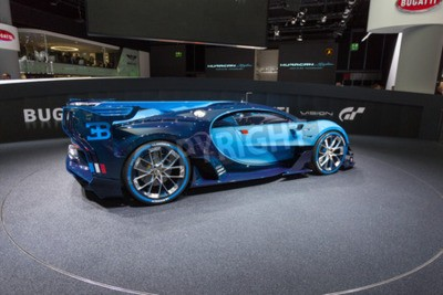 Fotomural Frankfurt, Deutschland - 15 de septiembre de 2015: Bugatti Vision Gran Turismo Concept presentado en el 66 Salón Internacional del Automóvil en la Messe Frankfurt