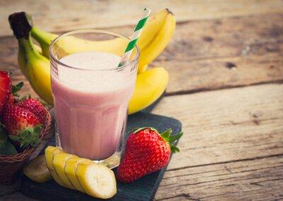 Fotomural Fresa fresca y batido de plátano