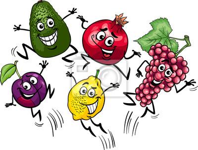 frutas saltando ilustración de dibujos animados fotomural