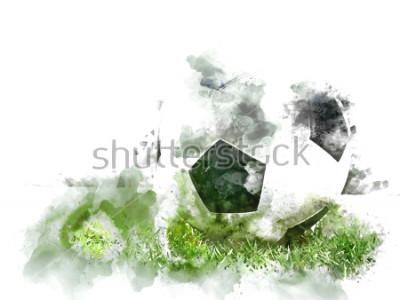 Fotomural Fútbol colorido abstracto en hierba verde fondo de la pintura del ejemplo de la acuarela.