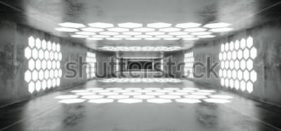 Fotomural Futurista Sci Fi Spaceship Grunge Túnel vacío de hormigón con luces brillantes en forma de hexágono blanco con Black Dark End 3D Rendering Illustration