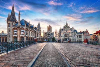 Fotomural Gante, Bélgica al día, casco antiguo de Gante