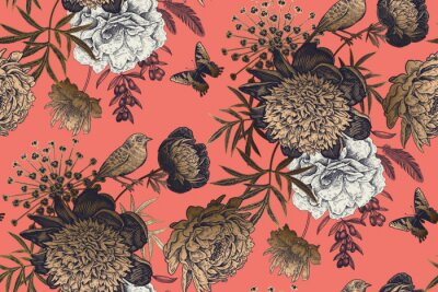 Fotomural Garden flowers peonies on a coral background. Luxury seamless pattern.