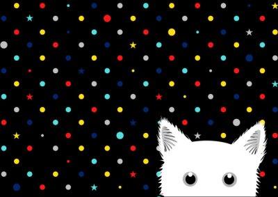 Fotomural Gato blanco colorido puntos estrella de fondo ilustración vectorial