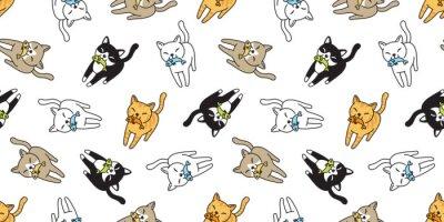 Fotomural gato de patrones sin fisuras vector gatito calico pescado salmón dibujos animados bufanda aislado azulejo fondo repetir fondos doodle ilustración