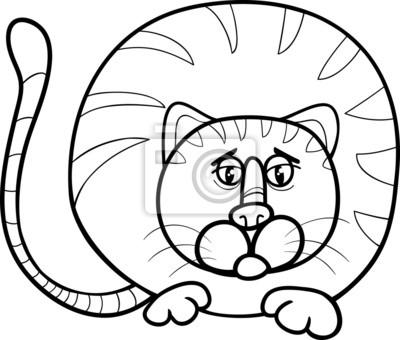 Gato gordo página para colorear de dibujos animados fotomural ...
