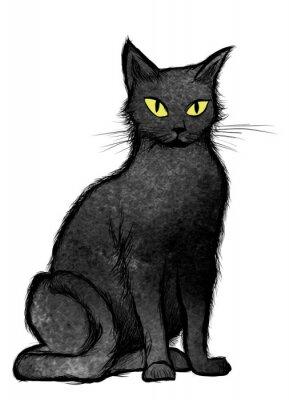 Fotomural Gato negro sentado y mirando a la cámara