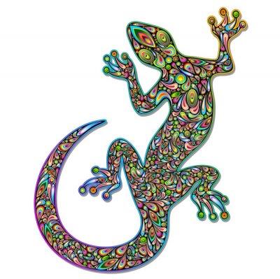 Fotomural Gecko lagarto Geko Psychedelic Art Design-Geco psichedelico