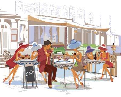 Fotomural Gente de moda en el café de la calle en la ciudad.