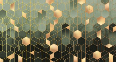 Fotomural Geometric abstraction of hexagons in green tones on a raised background with gold elements.
