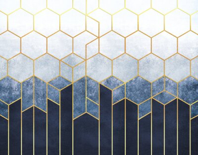Fotomural Geometric abstraction of hexagons on a blue relief background with gold elements. Fresco for interior printing, Wallpapers.