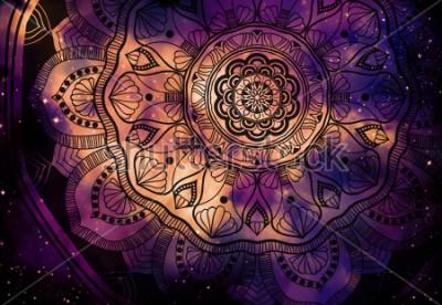 Fotomural Geométrico antiguo abstracto con esto del campo y fondo de galaxias coloridas, pintura de arte digital acuarela y diseño gráfico de mandala