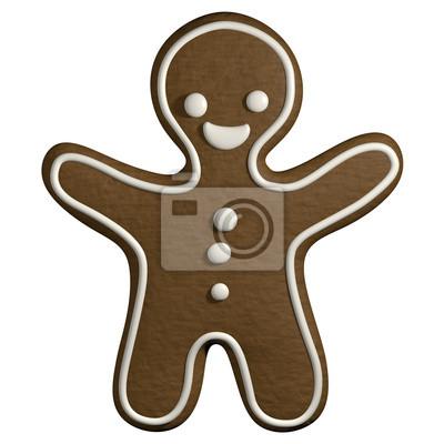 Imagenes De Galletas De Navidad Animadas.Fotomural Gingerbread 3d De Dibujos Animados Hombre Navidad Forma De Galletas