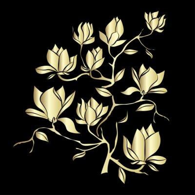 Fotomural Golden floración rama de Magnolia sobre fondo negro ilustración vectorial