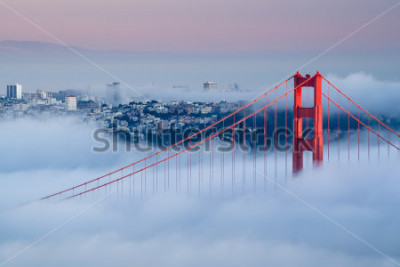 Fotomural Golden Gate al amanecer rodeado de niebla
